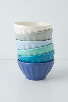 anthropologie latte bowls - $30 for set of six assorted colours - blue is nice!