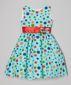 Look what I found on #zulily! Blue Rainbow Polka Dot Dress - Infant, Toddler & Girls by Kid Fashion #zulilyfinds