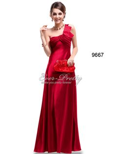 NWT One Shoulder Red Ruffles Satin Padded Bridesmaid Dress $69.99  www.ever-pretty.com    #satin #red #bridesmaid #eveningdress