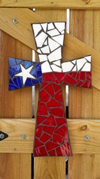 Mosaic Cross, USA Flag Mosaic Stained Glass Cross, Mosaic Wall Hanging, Decorative Cross -- Trust me, this is great! Click the image. Mosaic Crosses, Wooden Crosses, Crosses Decor, Wall Crosses, Decorative Crosses, Painted Crosses, Mosaic Crafts, Mosaic Projects, Diy Projects