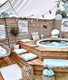 Backyard Patio Designs, Backyard Projects, Backyard Landscaping, Backyard Ideas On A Budget, Outside Living, Outdoor Living, Hot Tub Backyard, Backyard Makeover, Back Patio