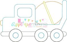 Cement Truck Vintage Embroidery Design