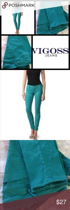 """EUC Vigoss skinny jeans. Make me an offer ✅ Worn once, they don't fit me anymore 😢. ️Teal skinny jeans size 11/12 (31"""" W) 30"""" L. 98% cotton 2% spandex. Machine wash cold, tumble dry low. ✅ REASONABLE OFFERS ONLY PLEASE ✅ Vigoss Jeans Skinny"""