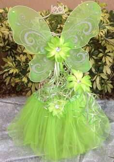 the set includes; Wings, Fairy Wand and Tutu....lots of different colors.........Tinkerbell Green Fairy Wings, Green Tinkerbell Tutu, Green Fairy Wand, Tinkerbell Party Favors