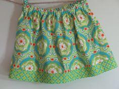 Girls Skirt Twirl Skirt Green Floral Skirt by SouthernSeamsKids