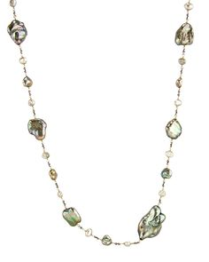 """Dana Kellin Pearl Strand Necklace Long necklace with multicolored pearls, sterling silver links, and gold wire wrap detail 14k gold fill Handcrafted wire wrap detail 40"""" long Toggle clasp closure"""