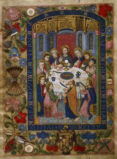 Ostatnia Wieczerza.  Język hiszpański.  późnego średniowiecza.  1500/50.  Houghton Lib.  Harvard przez tony Harrison http://flic.kr/p/bHMnB6 trzeba zobaczyć w wysokiej rozdzielczości - granica, ptaki, kwiaty