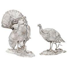 Patrick Mavros Pair of Silver Turkey Sculptures Flight Feathers, Silver Candelabra, Wild Birds, Antique Silver, Sculptures, Turkey, The Incredibles, Antiques, Metals