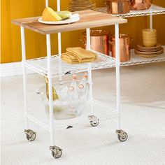 Take the party to any room with our InterMetro Shelving Chef's Cart. It features industrial-style locking casters providing easy mobility. Doubling as a food preparation area it features a Butcher Block Top as a natural cutting board. | Shelving SALE $147.68 #mobilehomekitchens #mobile #home #kitchens #butcher #blocks Kitchen Organization, Organization Hacks, Organizing, Butcher Block Top, Butcher Blocks, Mobile Home Kitchens, Plastic Drawers, Container Store, Storage Baskets