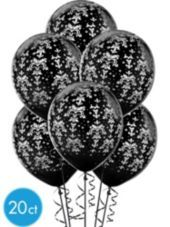 Latex Black And White Design Printed Balloons 12in 20ct - Party City
