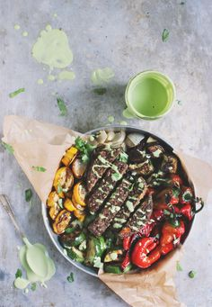 Fajita Veggie Burger Bowls with Blistered Sweet Reds + Cilantro Lime Cashew Cream | With Food + Love