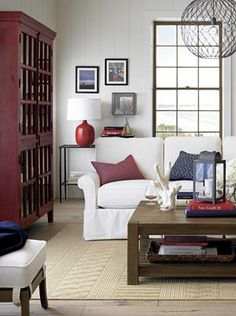 Like  Table, red accents and lamp. All crate and barrel