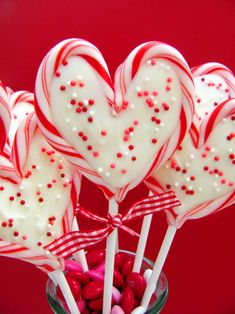 Valentine's Day heart peppermint candy pops - made with leftover mini candy canes from Christmas!
