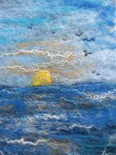 A5 Hand-felted notebook cover: 'Sunset' with hand embroidery, by Deborah Iden.  See more by LittleDeb on Pinterest, Facebook, Folksy and Etsy. A5, Felting, Hand Embroidery, Notebook, Magic, Sunset, Cover, Etsy, Felt