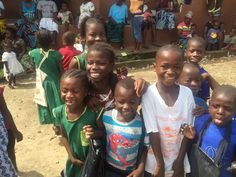 a group of happy girls and boys in Sierra Leone!