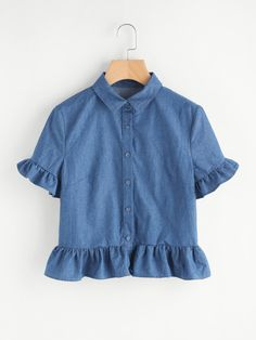 SheIn offers Frill Detail Chambray Blouse more to fit your fashionable needs. Girls Fashion Clothes, Summer Fashion Outfits, Cute Fashion, Girl Outfits, Casual Outfits, Cute Outfits, Trendy Fashion, Women's Fashion, Stylish Dresses