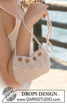 "DROPS 119-38 by DROPS Design   ""... this summer's evening bag!""  Small crochet DROPS bag in ""Muskat""."