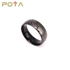 POYA Jewelry Latest Design Domed Black Wood Grain 8mm Titanium Wedding Bands Ring For Men And Women