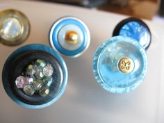 Blue button rings