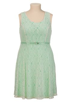 Belted Floral Lace Tank Dress