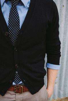 The Tie and Sweater combo is nice, and blues plus browns in the color scheme