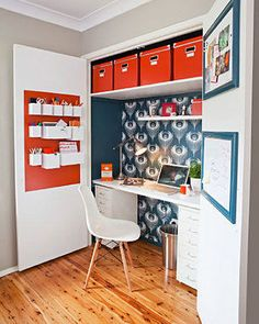 House and Home -- Fold-away home office -- If you think you have no space for a home office, think again. This fabulous home office was once a humble built-in wardrobe in a spare room. A fold-away office could be your solution to working more productively at home as there is a clear distinction between work and leisure time.