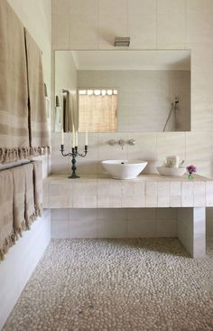 Everything You Need To Know About Incredible Bathroom Renovations Do It Yourself Open Bathroom, Bathroom Floor Tiles, Bathroom Renos, Simple Bathroom, Bathroom Renovations, Natural Stone Bathroom, Deco Marine, Bathroom Design Inspiration, Deco Design