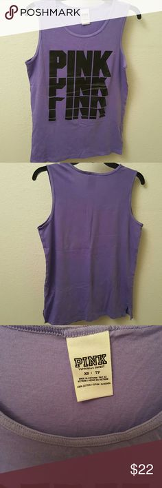 PINK tank XS NWOT XSmall tank in purple with black PINK graphic in front. New without tags. Never worn PINK Victoria's Secret Tops