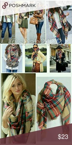 "Beige classic plaid blanket scarves! Brand new with tag's. Soft,cozy,and warm. Tartan blanket wrap shawl. Very stunning and classic.  So many ways to wear it. The material is 100% acrylic and measurement is 60"" × 55"" Accessories Scarves & Wraps"