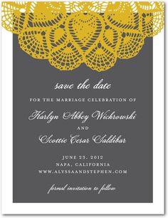 Signature White Save the Date Cards - Lacy Elegance by Wedding Paper Divas
