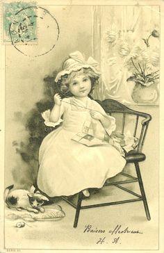Little girl postcard