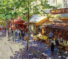 Juri Krotov > «Cafe on the Boulevard Haussmann»; 61x71; oil on canvas; 2004.