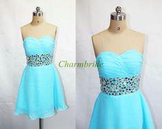 blue fashion chiffon prom dress    short sweetheart by Charmbride