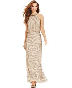 Adrianna Papell Beaded Blouson Halter Gown - color: champagne