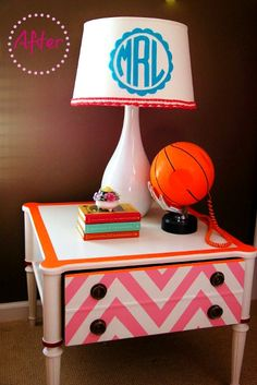 cute chevron night stand idea on $10 side tables! Mycolor inspired by Pantone Paint project blog. Lots of great ideas! #paint #pantone #mycolor