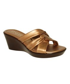 Loving this Bronze Knotted Crisscross Wedge Sandal on #zulily! #zulilyfinds