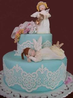 "Sugar flowers, molded angels and sugar lace ""Angels Cake"" ~ all edible"