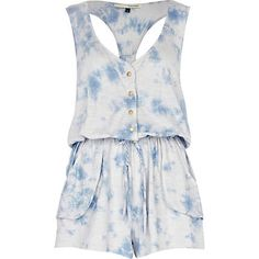 blue dip dye print playsuit - River Island from River Island Clothing. Saved to Dresses. Blue Dip Dye, River Island Outfit, Playsuits, Jumpsuit, Summer Dresses, My Style, Outfits, Women, Clothing