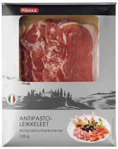 Pirkka antipastoleikkeleet ovat erinomaisia ennen ruokaa nautittavia alkupaloja. Ne sopivat myös illanistujaisten pikkunaposteltavaksi. Pakkaus sisältää Parmankinkkua, Coppaa sekä Salame Felinoa.