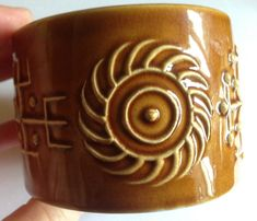 Portmeirion - Vintage Retro Portmeirion pottery sugar bowl Totem pattern in toffee colour by 20thCenturyStuff on Etsy https://www.etsy.com/listing/270558133/portmeirion-vintage-retro-portmeirion