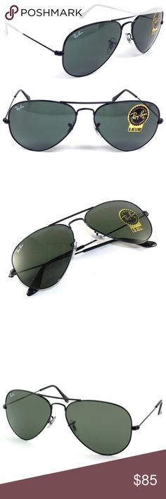 New Black Ray-Ban Aviator Sunglasses G-15 Lenses New Ray-Ban Aviator Sunglasses RB3025 L2823 Size Large 58-14/135. Black frame with green G-15 (they also look black) lenses. G-15 is RB technology for clear vision, antireflective, were made for US pilots, one of the most famous sunglasses ever made. Made in Italy, original, authentic, come with brown leather case, cloth and box. Returns accepted. Ray-Ban Accessories Sunglasses