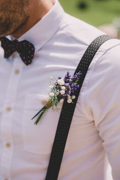 Eve Dunlop Wedding Photography // Purple button holes.