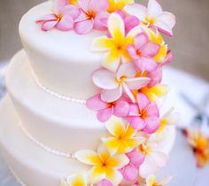 pink, yellow, wedding cake, tropical, hawaiian