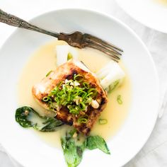 Miso Glazed Halibut with Baby Bok Choy and a Sake Butter Sauce - sounds like one of those fancy-pants meals, huh? But it's so easy to make and pretty quick too!