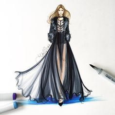 Another dream down the @eliesaabworld runway . Sketched with @copicmarker…