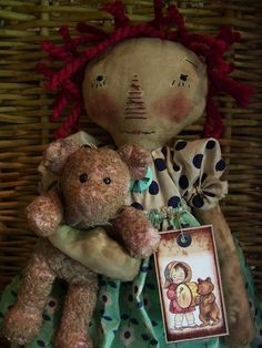 .PRIMITIVE ~RAGGEDY ANN~xprim annie with her much loved bear~ #NaivePrimitive