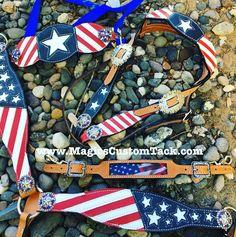 Magics Custom Tack Patriotic red white and blue American flag gear handmade in America!  Www.magicscustomtack.com