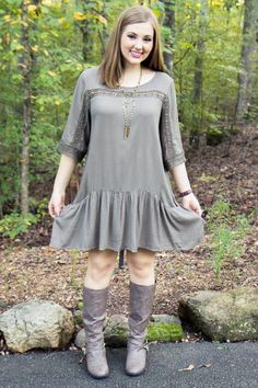 Gone Til November Dress  Vendor: Athena AttireType: DressesPrice: 21.78  This sweet olive dress is the perfect addition to your Fall wardrobe!  Dress Features: Crochet Lace Ruffle Dress Pockets  Model wears a medium.  Small fits 2-4. Medium fits 6-8. Large fits 10-12.
