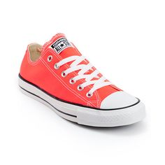 The original sneaker now in the Fiery Coral colorway, the Converse Chuck Taylor All Star low top shoe gives Crayola a run for its money. This all canvas sneaker features the well-known rubber toe cap, vulcanized construction, and classic lacing system with metal eyelets at the arch and foot.