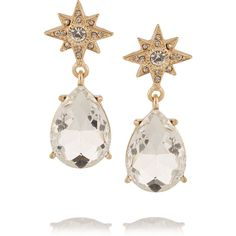 Kenneth Jay Lane Gold-plated crystal earrings ($23) ❤ liked on Polyvore featuring jewelry, earrings, gold, crystal stone jewelry, clear earrings, clear crystal earrings, gold plated jewellery and gold plated earrings